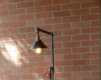 Floor Lamp steampunk industrial edison bulb iron flange wood base metal shade