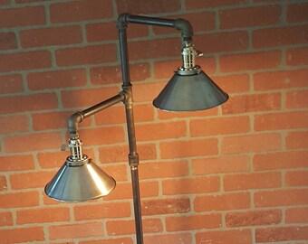 Floor  lamp  industrial Edison bulbs  iron pipe metal shade iron  flange wood base