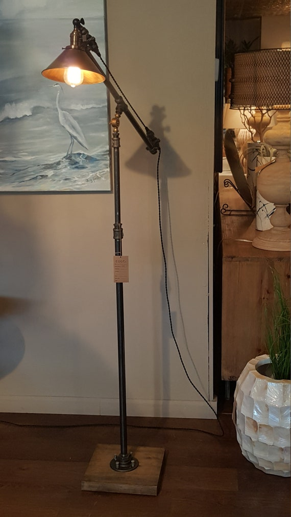 Articulating Industrial floor lamp Edison bulb iron pipe wood base copper cone shade antiqe brass socket