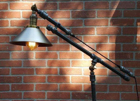Articulating Industrial floor lamp Edison bulb iron pipe wood base steel cone shade antiqe brass socket