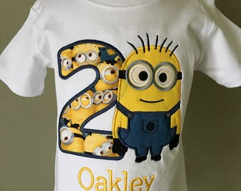 Boys Minion Birthday Shirt Personalized Applique Two Eye