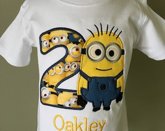 Boys Minion Birthday Shirt, Birthday Personalized Minion, Boys Appliqué Shirt, Two Eye Minion, Boys Birthday Shirt