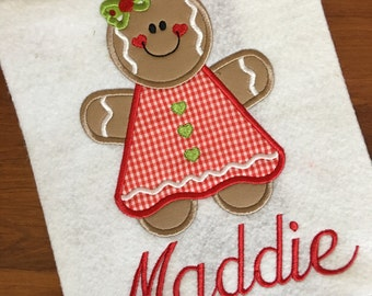 Christmas Girl Gingerbread Appliqué Shirt or Onesie