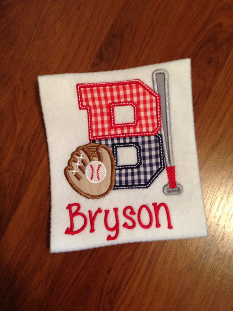 Baseball Game Bat /& Glove Birthday Boys Baseball Alphabet Applique ShirtOnesie