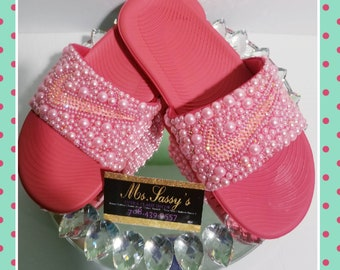 77e24844c2fb Blinged Nike Slides