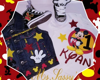 Mickey Mouse Inspired Denim vest and shirt with matching Converse