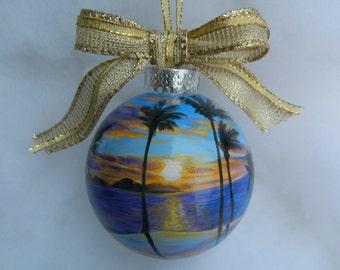 Custom Handpainted Beach Ornament, Personalized Florida Ornament, Anniversary Ornament, Beach Vacation Ornament Couples gift memory custom