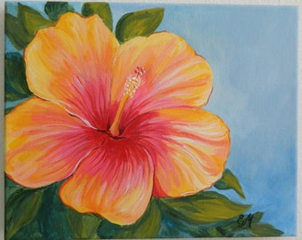 Hibiscus Painting, Yellow and Red Hibiscus Origianl Painting, Hibiscus decor, Flower Painting, Gift for mom Modern Art Hibiscus Flower Decor
