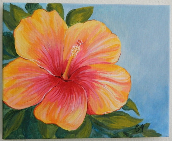 Hibiscus Painting Yellow And Red Hibiscus Origianl Painting Etsy