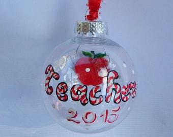 Teacher Gift, Teacher personalized gift, Teacher Christmas Gift, Teacher Personalized Gift, My 1st teacher gift, red apple ornament