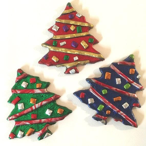 TINSEL TREE Pin, Shimmery Holiday Jewelry, Festive Art, Christmas Spirit, Candy Cane, Tiny Ornaments, Lightweight Metallic Acrylic