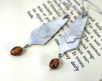 Sterling Silver Drop Earrings with Dark Honey Czech Glass Beads, Handmade, Metalsmith, Artisan Made