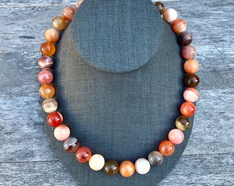 18 Inch Red Banded Agate Beaded Necklace
