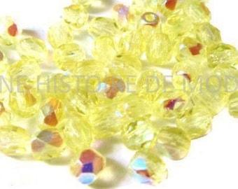 50 faceted - AB - Ø4 mm Jonquil yellow Czech beads