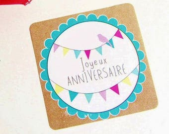 """10 gift tags """"Happy birthday"""" stickers 35 x 35 mm"""