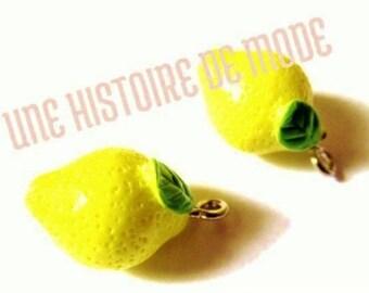 2 charms lemon yellow resin - Kawaii - 19 x 12 mm