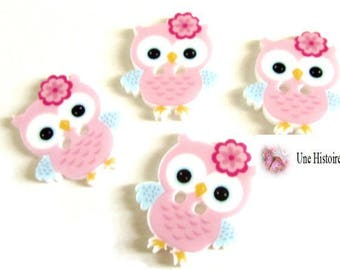 4 buttons OWL resin rose, blue and white 23 x 21 mm
