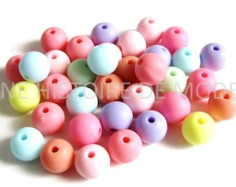 SET of 50 multicolored silicone hard 8 mm beads