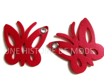 2 charms Butterfly red leather dark 50 x 40 mm
