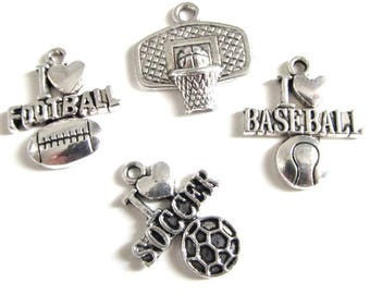 4 sport charms in Silver (basketball, football)