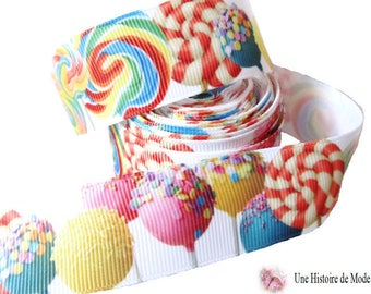 1 meter Ribbon grosgrain Ribbon candy, Lollipop, multicolored pop and 25 mm wide