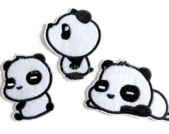 Lot de 3 Patchs , écusson thermocollant PANDA à coudre ou repasser