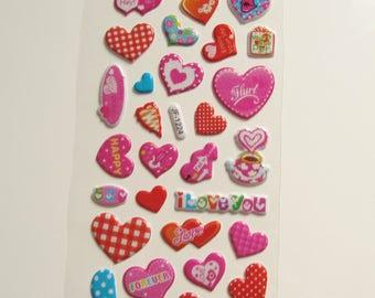 Board of multicolored hearts JF1224 stickers stickers