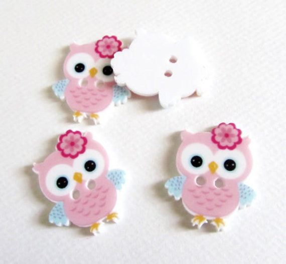 20 21mm Wooden Owl Beads Assorted Colours and Assorted Packs of 10 50