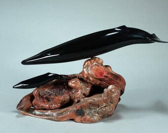 Fin Whale Mother and Calf Sculpture New Direct by John Perry Statue on Wood 14in Long