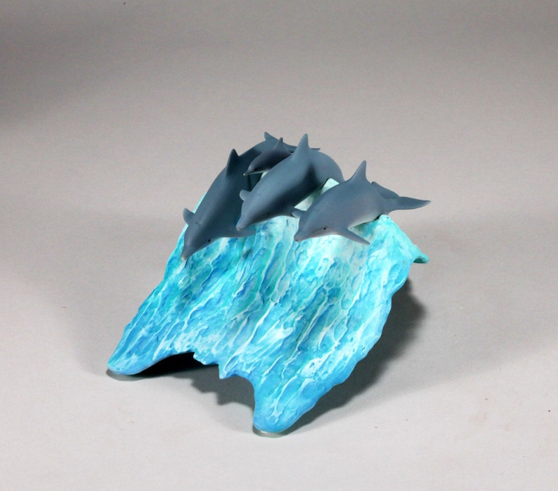 Dolphins Sculpture Decor Figurine by John Perry POD 8in Long Statue Airbrushed on blue wave