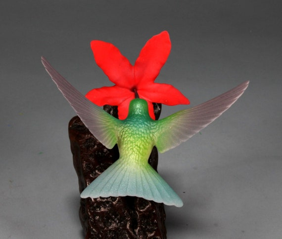 VIOLETEAR HUMMINGBIRD with Red Flower by John Perry 7in tall sculpture