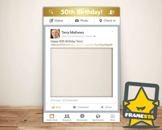 50th Birthday Party Gold Photo Booth Prop Frame Digital File