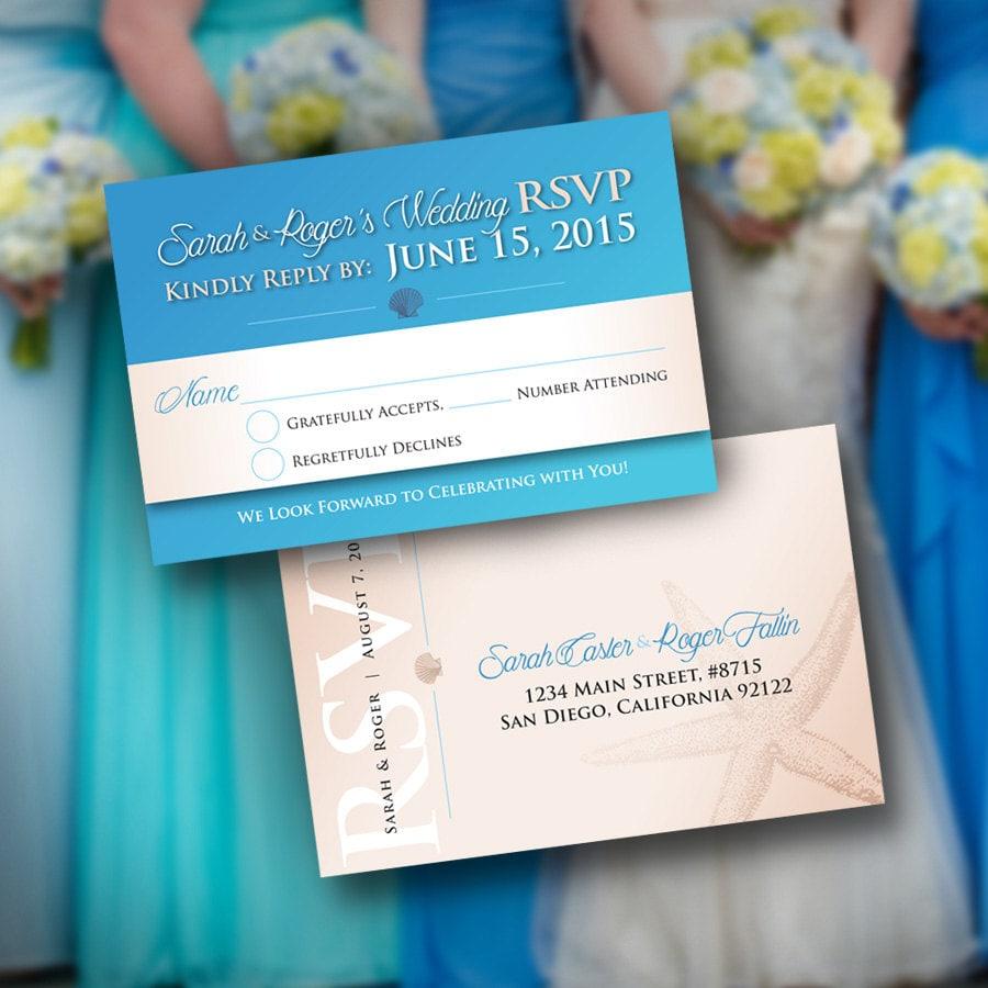 wedding rsvp 4x6 card  print sample listing  beach blue