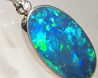 11.4ct 14k White Gold Large Australian Opal & Diamond Pendant Jewelry Gift 723