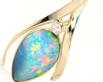 7.3ct Quality Gem 14k Gold Australian Opal & Diamond Pendant Necklace Gift #780