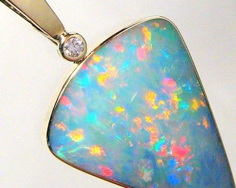 17.7ct 14k Gold BIG Australian Genuine Opal & Diamond Pendant Jewelry Gift #619