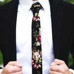 JAKE Black Floral Skinny Tie 2"