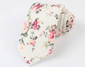 "EMMETT Cream Floral Skinny Tie 2.36"" | floral tie | flower tie | skinny tie | wedding tie | wedding ideas | groom | formal | prom |"