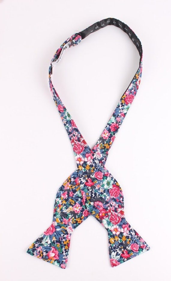 Men's Pink Black and Blue - Self Tie Bow Tie| Flower | Self Tie | Bow Tie | Bowtie | Floral | Wedding | Groom | Gift | Ideas | for him