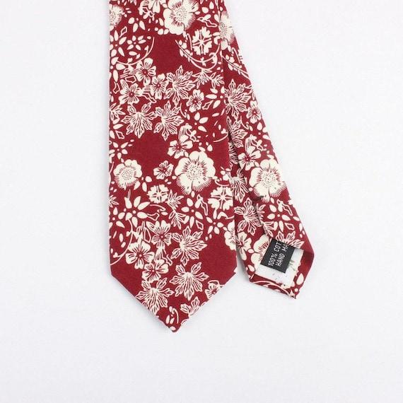 "Burgundy and cream Floral Skinny Tie 2.36""| floral tie | flower tie | skinny tie | wedding tie | wedding ideas | ideas | groom |  floral ski"