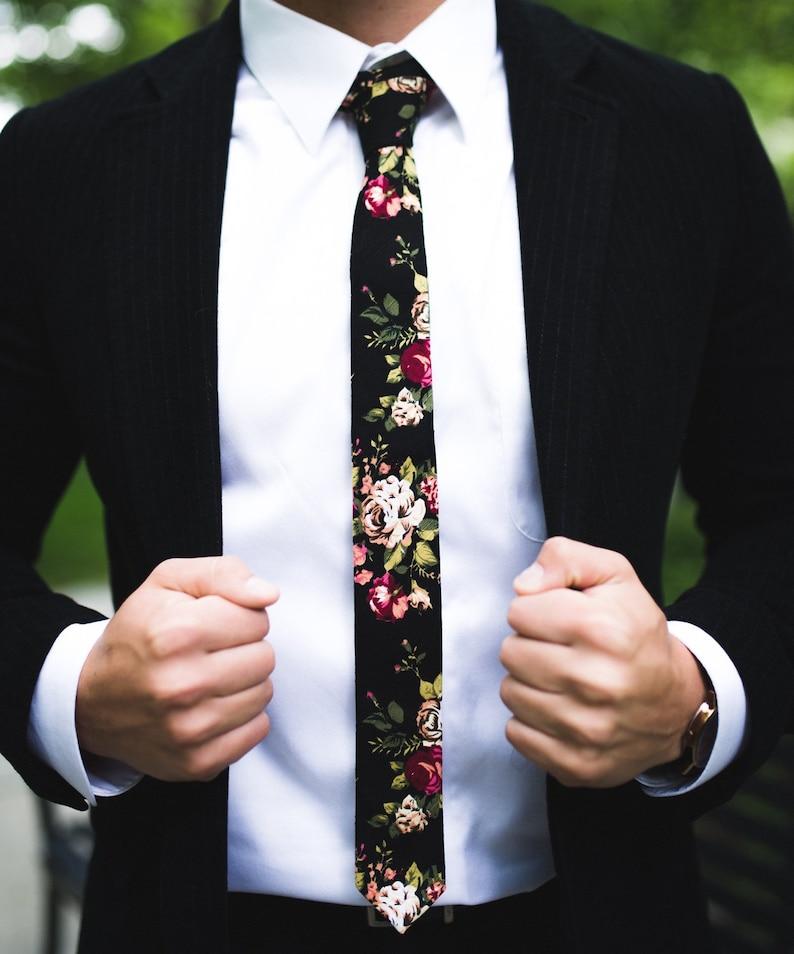 JAKE Black Floral Skinny Tie 2  floral tie  flower tie image 0