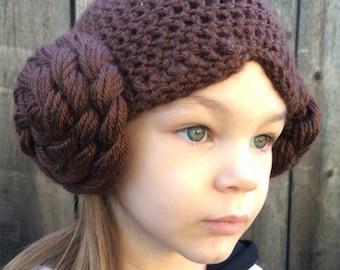 Princess Leia hat, Star Wars hat. Baby - adult sizes