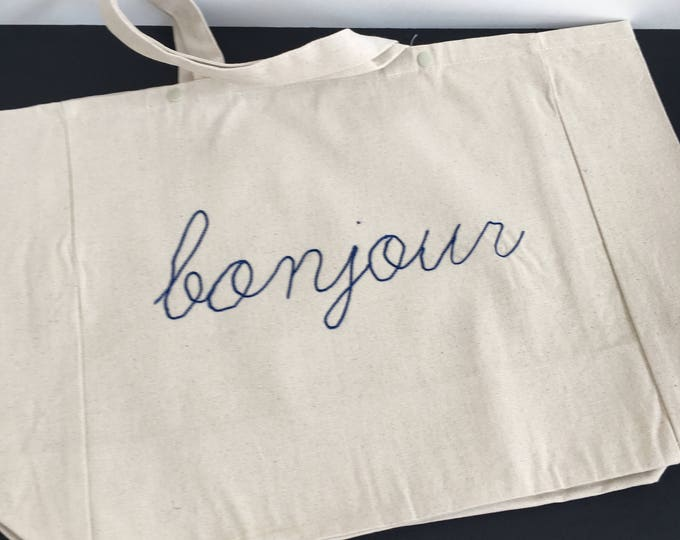 "Cabas ""bonjour"" - Broderie Cornely"