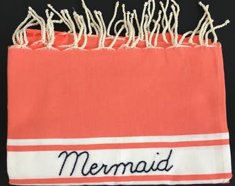 "Fouta embroidered ""Mermaid"" orange / / beach towel / / Christmas gift / / teen gift / / anniversary gift / / travel gift"
