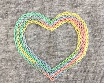 Rainbow heart women t-shirt / / hand embroidery / / unique gift idea / / Christmas woman gift / / rainbow heart / / embroidery