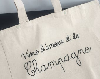 """Live love and Champagne"" Tote / / cornely embroidery / / Christmas gift / / black friday / / shopping bag / / shopping bag"