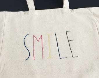 """SMILE"" Tote / / cornely embroidery / / Christmas gift / / black friday / / grocery bag / / tote bag / / gift woman original"
