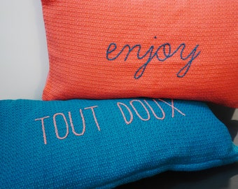 "Cushion embroidered hand ""enjoy"" & ""soft"" / / Christmas gift / / decoration / / pillow / / orange pillow / / layering / / decor cushions"