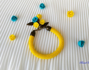 Bracelet of beads/Bracelet yellow/yellow armband/Bracelet/Beads Bracelet Bangle