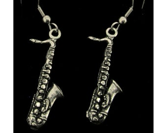 Saxophone Earrings Handcrafted from Lead free Pewter With Gift box